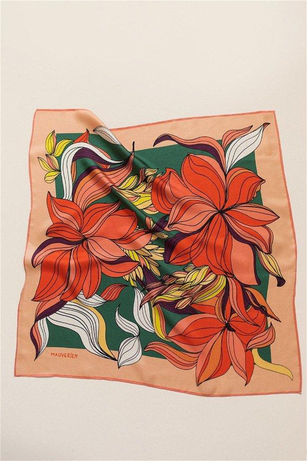 Eșarfa din 100% Mătase - In Bloom Bright Red