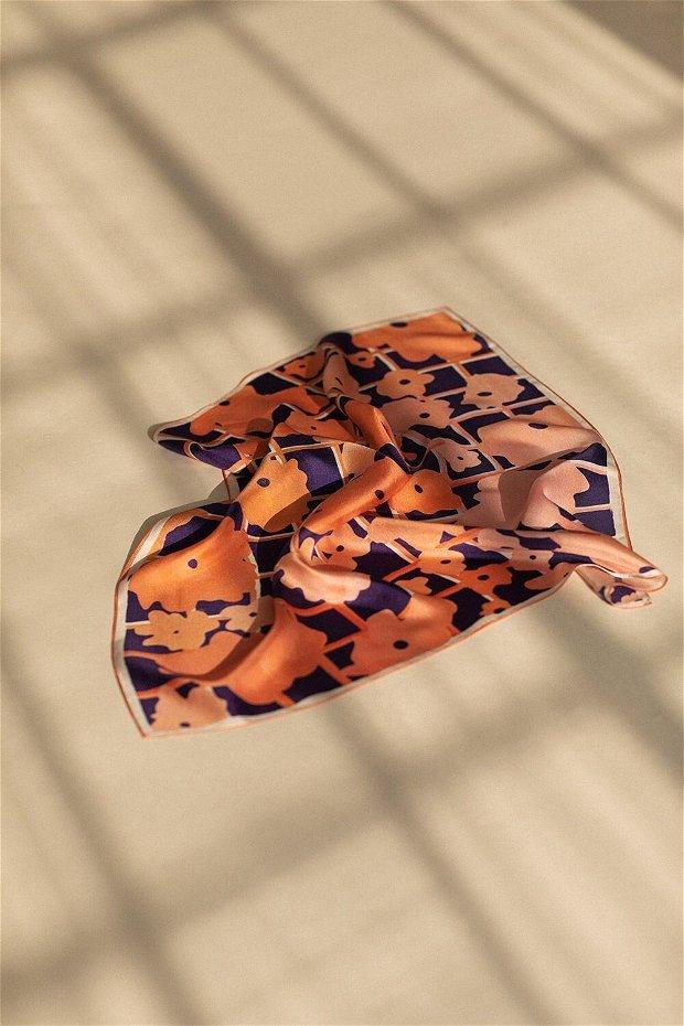 Eșarfa din 100% Mătase Roasted Orange Watercolor