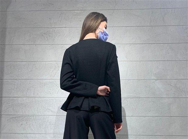 Sacou din lana negru cu crem