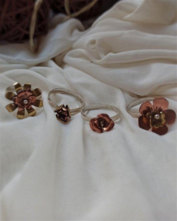 Spinning rose inel   Argint si cupru