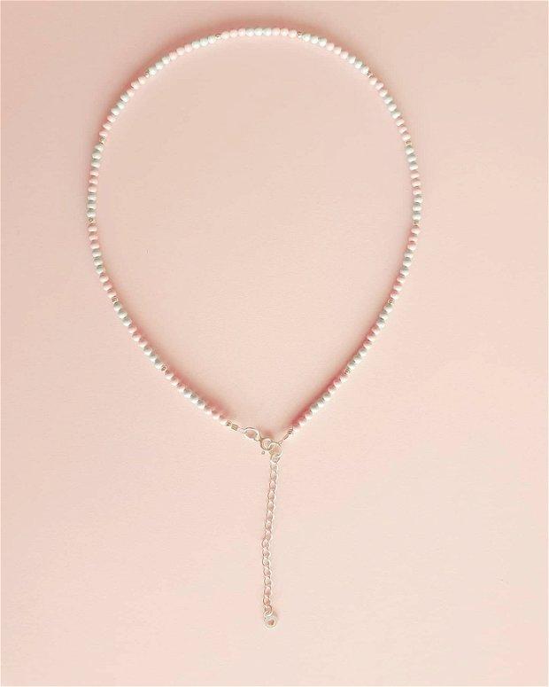 Colier perle pastel