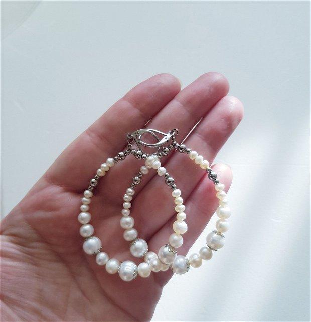 Cercei rotunzi cu perle naturale