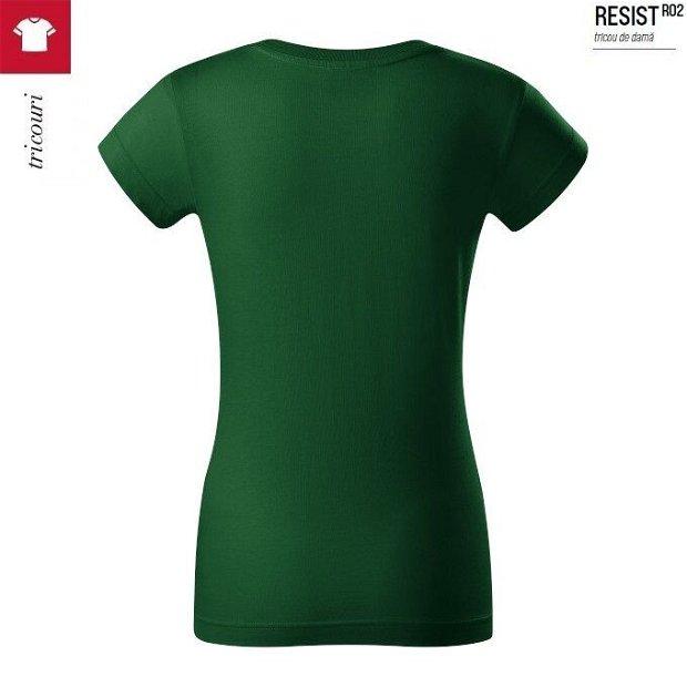 Tricou verde sticla dama, bumbac pre-shrunk, Resist R02