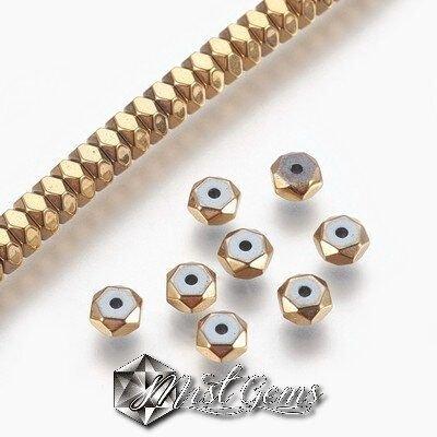 10 buc.Hematit rondele fatetate,electroplacate,culoare auriu-4X2mm SP897