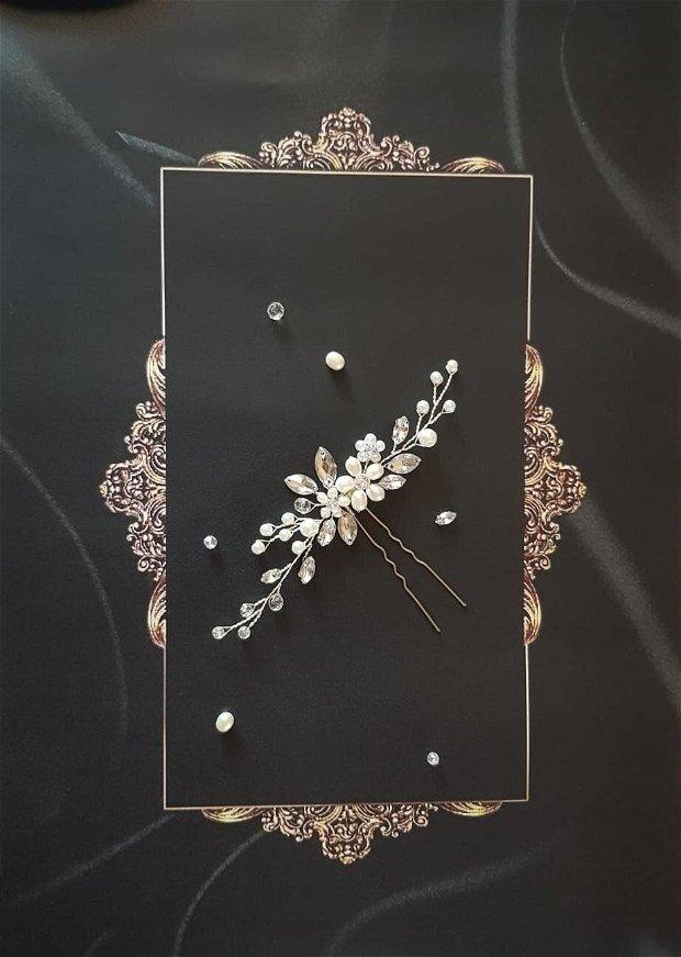 """Accesoriu par mireasa """"Natural Delicacy"""" cu perle naturale"""