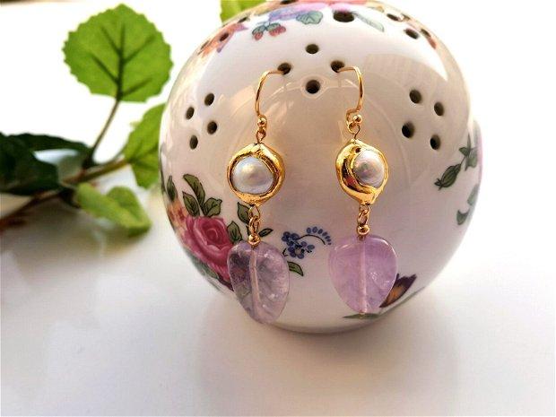 Cercei ametist &perle