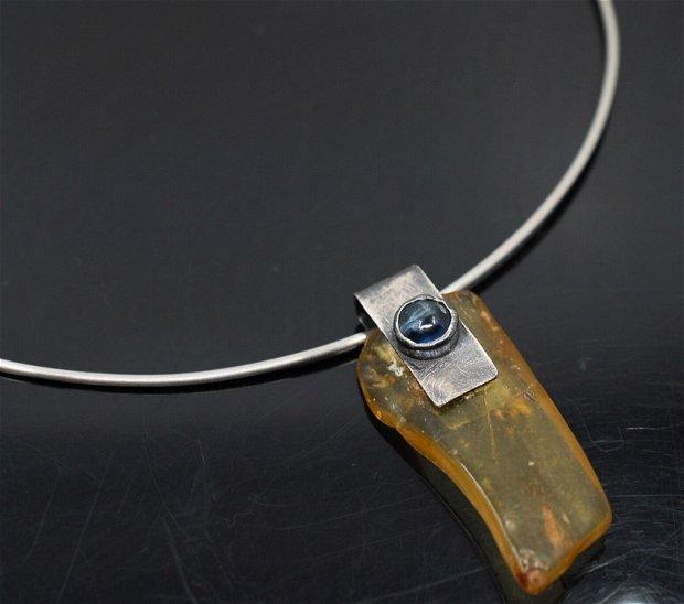 Colier fix din argint 925 cu copal si kianit