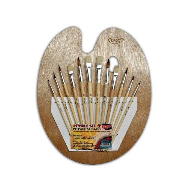 Set 12 pensule pe paleta din lemn-pn012