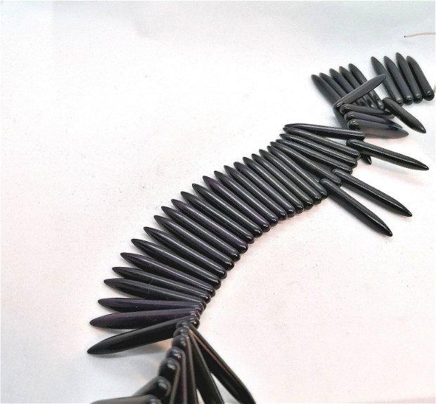 Tepuse tepi colti howlit sinteza / manmade * 34~35mm * negru