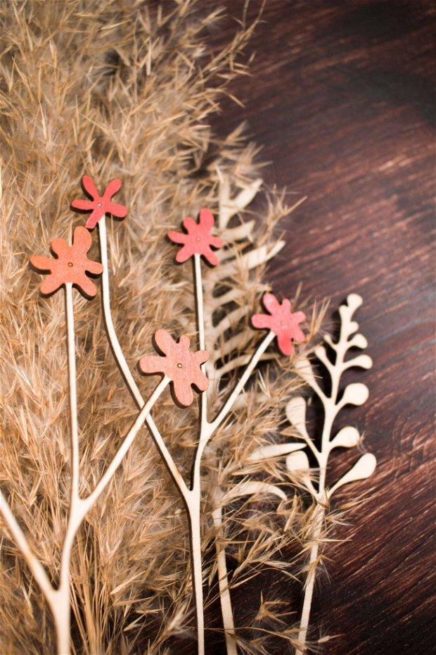 Buchet de 5 Flori din Lemn Personalizate