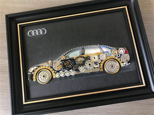 Masina model Audi Cod M 506, Cadouri masini, Cadou personalizat, Tablou steampunk mecanism ceas