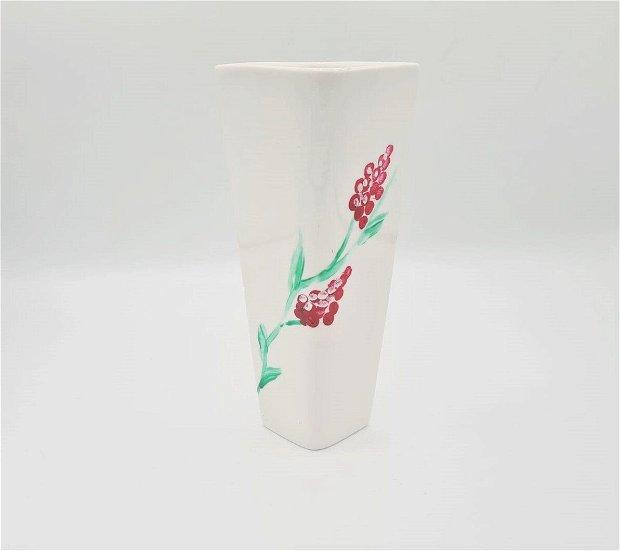 Vaza deosebita personalizata cu flori de liliac pictata