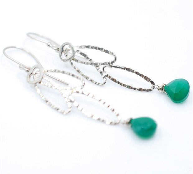 Cercei din argint si onix verde, cercei lungi argint, cercei statement, cercei handmade