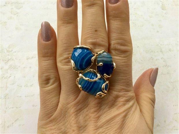 Inel zamac aurit & agate albastre