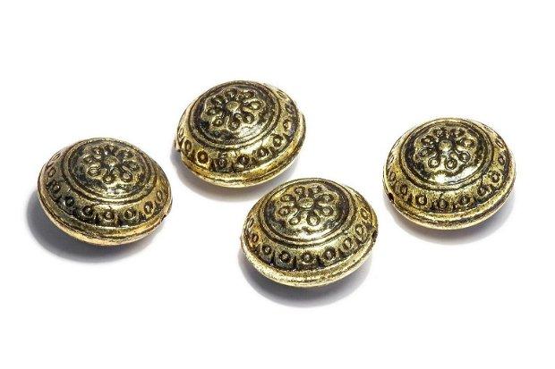 Margele din acril, metalizate, auriu antichizat, 20x12.5 mm