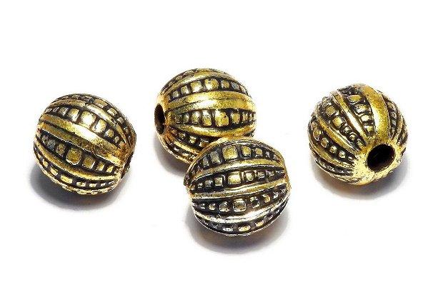 Margele din acril, metalizate, auriu antichizat, 12x12 mm