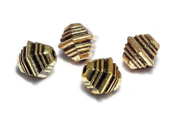 Margele din acril, metalizate, auriu antichizat, 10x10 mm