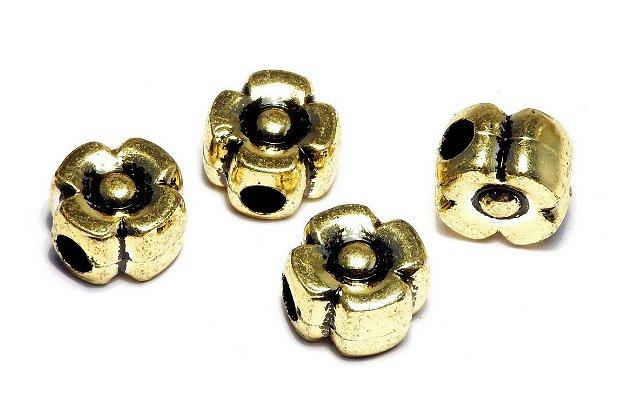Margele din acril, metalizate, auriu antichizat, 12x8 mm