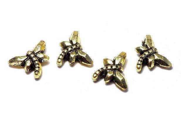 Margele din acril, metalizate, auriu antichizat, 11x14 mm