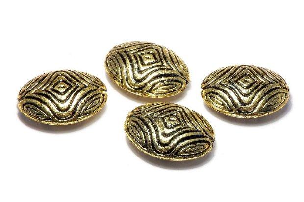 Margele din acril, metalizate, auriu antichizat, 25x19 mm
