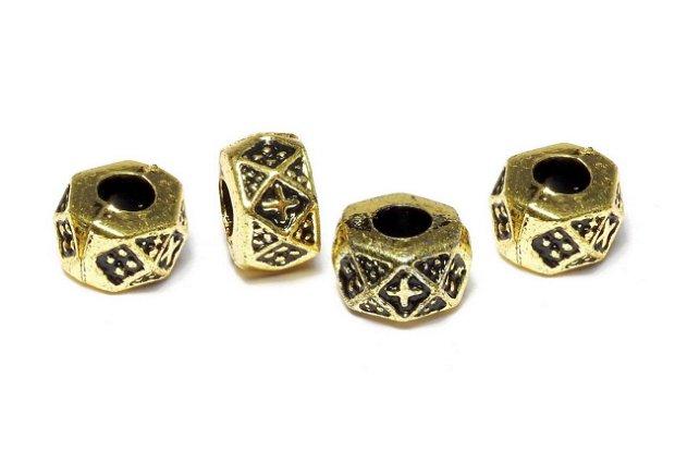 Margele din acril, metalizate, auriu antichizat, 9x6 mm