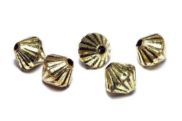 Margele din acril, metalizate, auriu antichizat, 7x7 mm