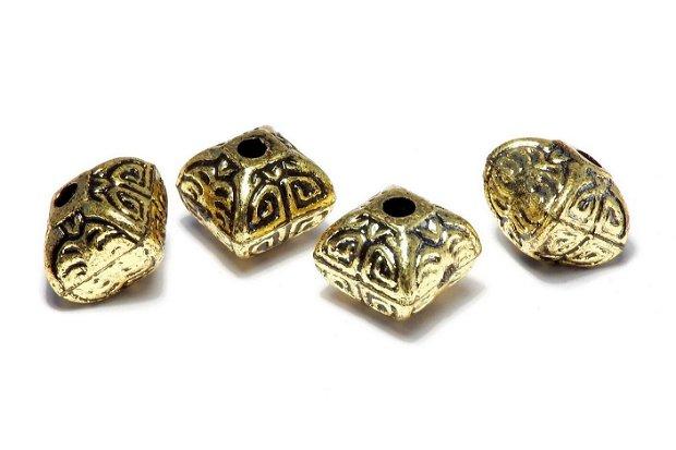 Margele din acril, metalizate, auriu antichizat, 12.5x12.5 mm