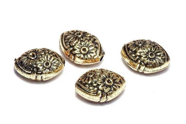 Margele din acril, metalizate, auriu antichizat, 13x9.5 mm