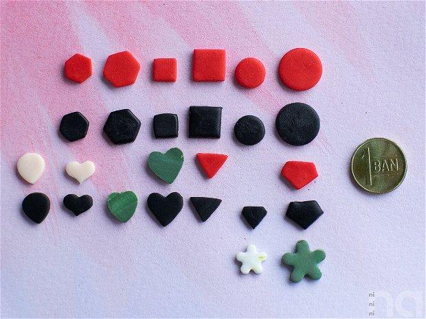 Cercei cu surub, din fimo, in forma de  hexagon, negru, M