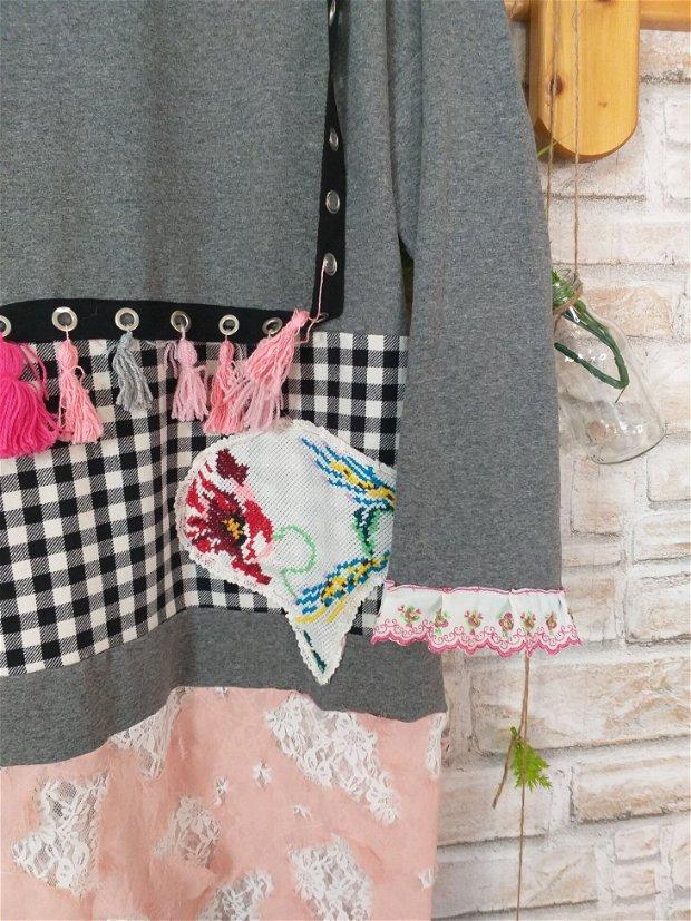 Rochie gri,roz,vintage