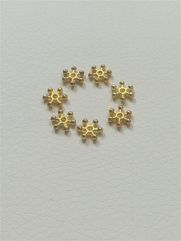 Distantier floare, 7mm, auriu - 1 buc
