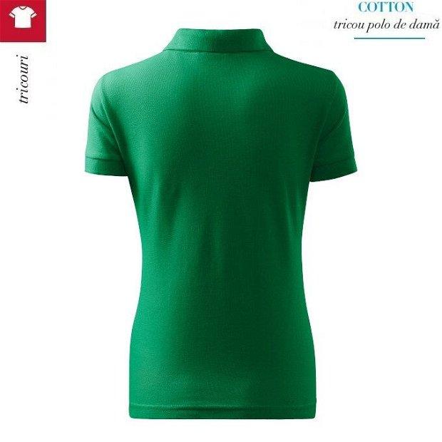 Tricou verde mediu polo dama, Cotton
