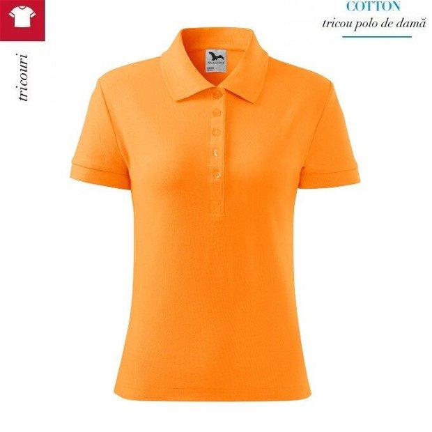Tricou polo tangerine orange dama Cotton