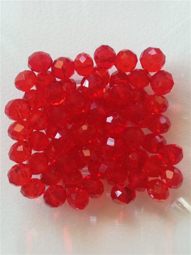 Cristale rondele, rosu transparent, 8x6mm - 1 buc