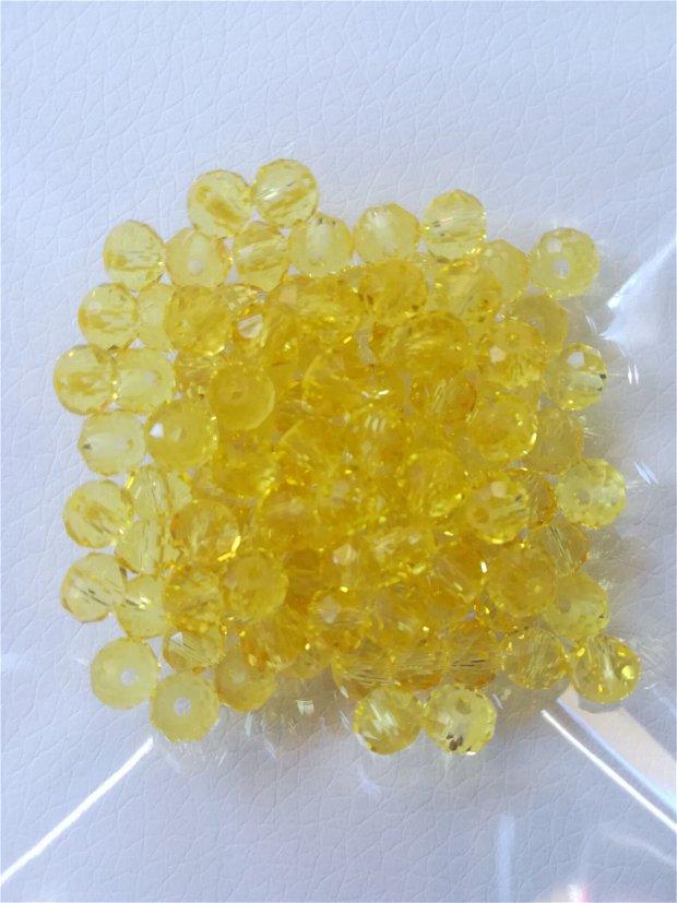 Cristale rondele, galben transparent, 6x4mm - 1 buc