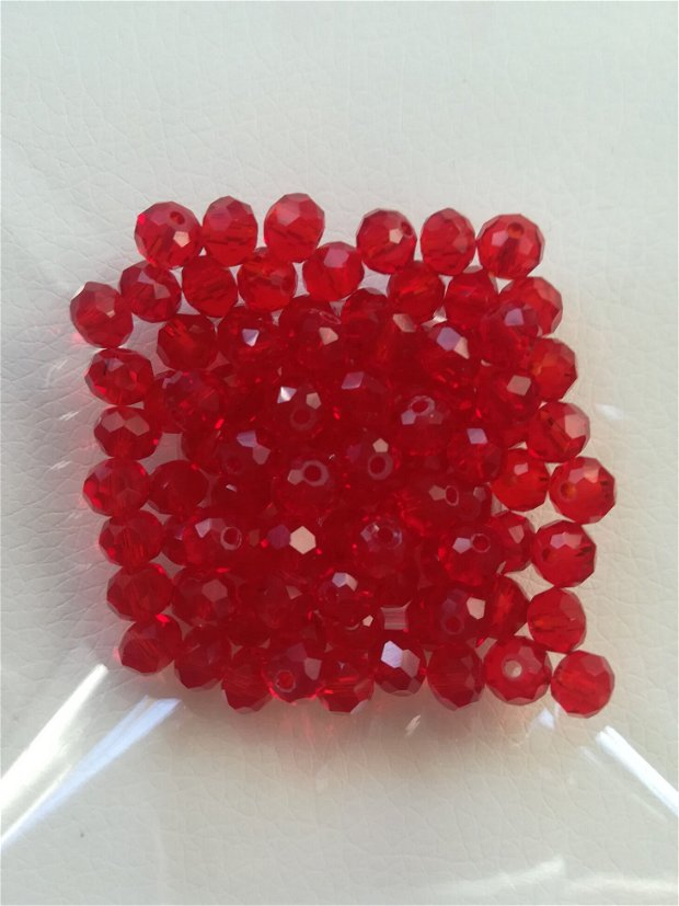 Cristale rondele, rosu transparent, 6x4mm - 1 buc