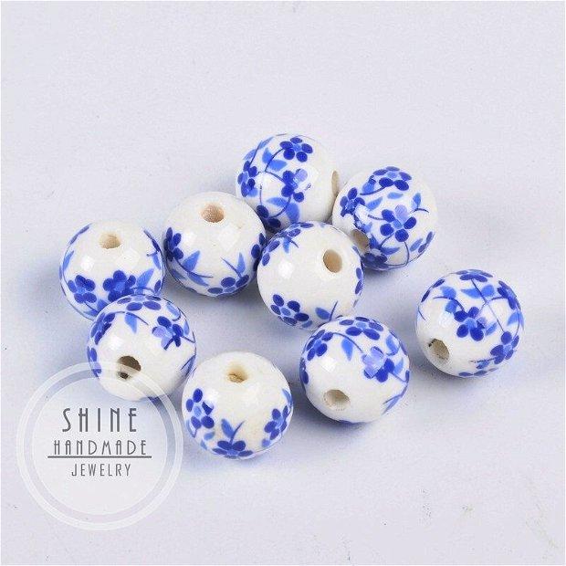 Margele din portelan, flori albastre, 12mm
