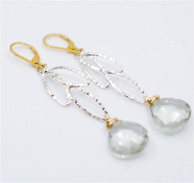 Cercei din argint si prasiolit, cercei lungi argint, cercei statement, cercei handmade
