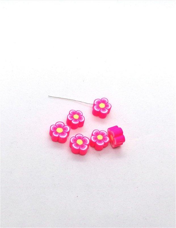Distantier floare clei / rasina polimerica 10mm * roz