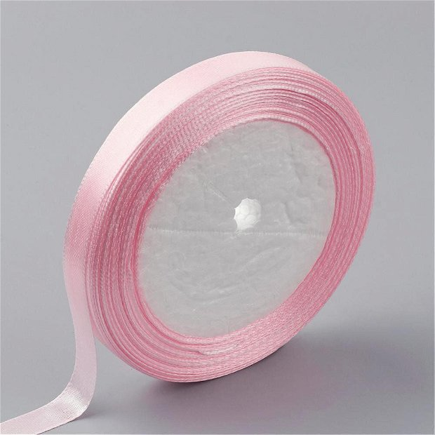 1 rola ~22.8m Panglica satin 6mm * roz pal