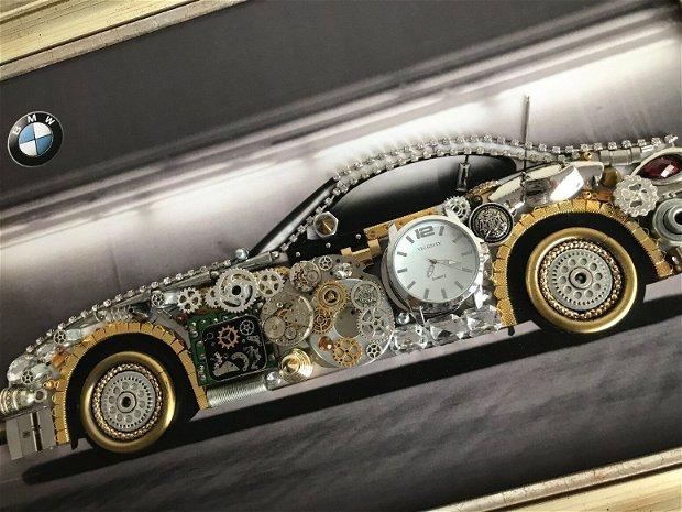 Masina model BMW Cod M 461, Cadouri masini, Cadou personalizat, Tablou steampunk mecanism ceas