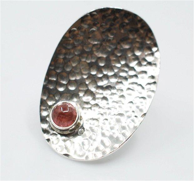 Inel din argint 925 cu turmalina roz, inel mare, inel oval