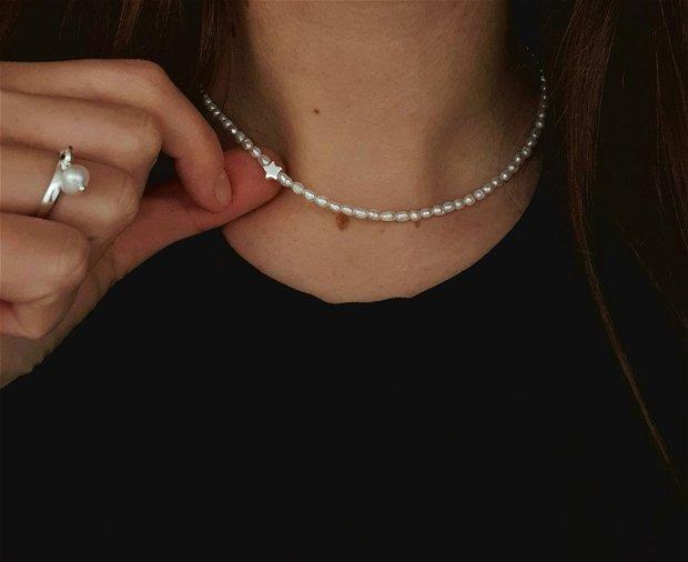 Colier perle naturale si steluta argint