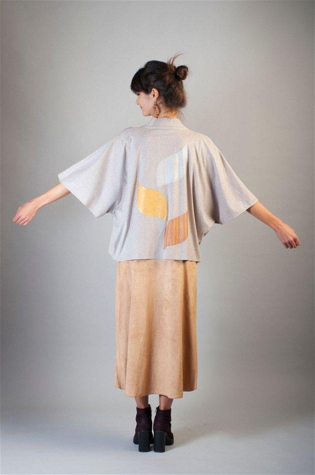 Kimono Three Leaves pictat manual Unicat