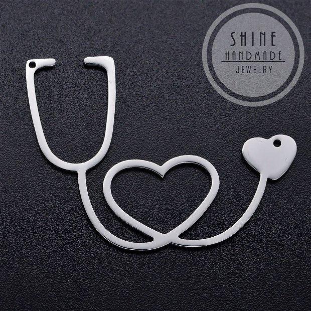 Pandantiv stetoscop, otel inoxidabil, 30x40x1mm
