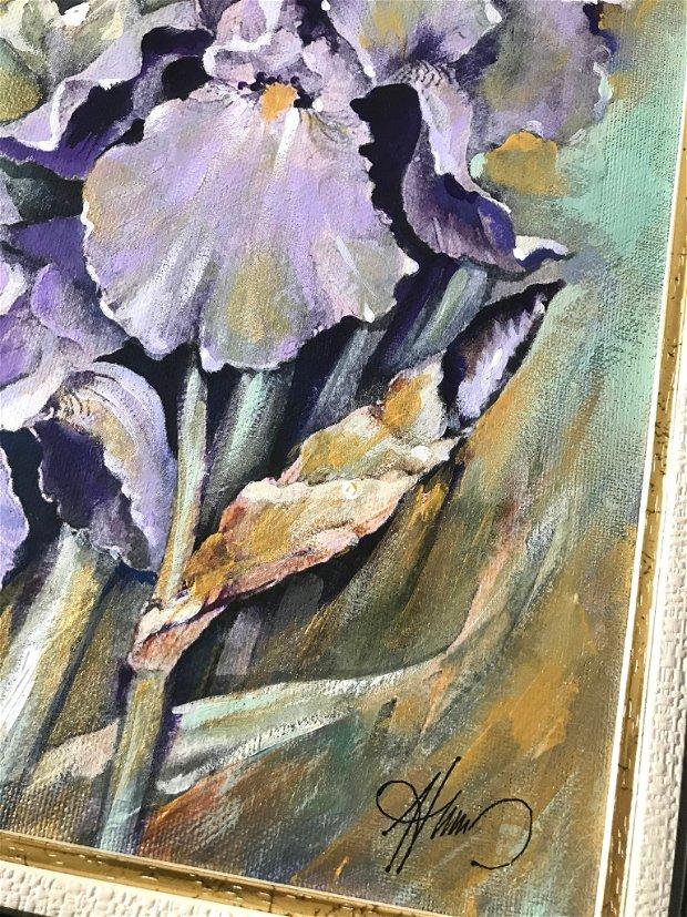 """Tablou """" Flori de Iris"""", pictat manual in culori acrilice, Pictura cu flori"""