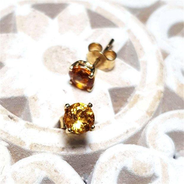 Cercei din aur cu Citrin de Madeira