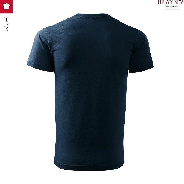 Tricou 3XL bleumarin, unisex, din bumbac finisat cu silicon, Heavy New