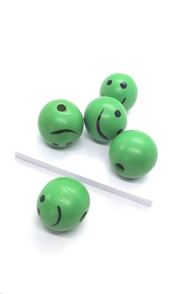 Margele rotunde lemn smiley 25mm * verde