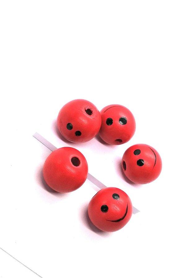 Margele rotunde lemn smiley 25mm * rosu